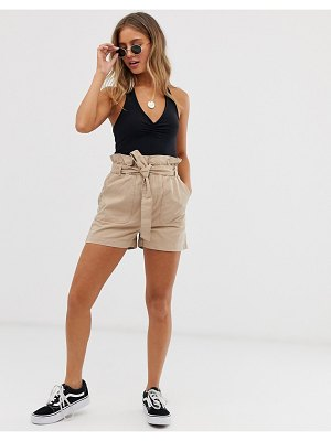 New Look paperbag utility belted short in stone