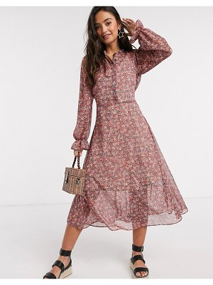 New Look puff sleeve chiffon shirt dress in pink floral