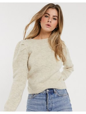 New Look puff sleeve sweater in oatmeal-cream