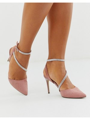 New Look rhinestone strap detail stiletto in light pink