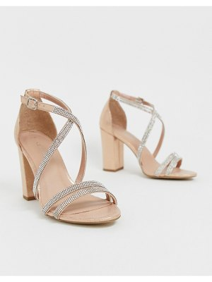 New Look rhinestone strapping detail sandal in rose gold