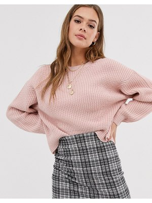 New Look rib crew neck sweater in pink