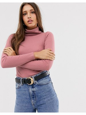 New Look rib roll neck in pink