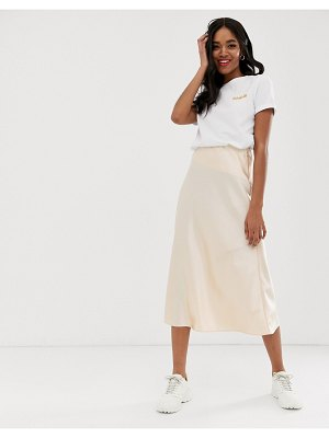 New Look satin midi skirt in gold