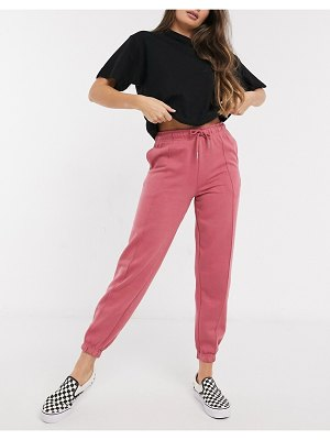 New Look seam detail co-ord sweatpants in berry-pink