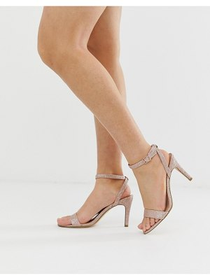 New Look shimmer strap up stiletto in rose gold