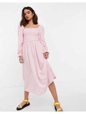 New Look shirred midi dress in pink gingham