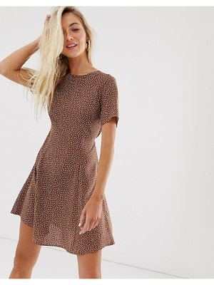 New Look smock dress in brown polka dot