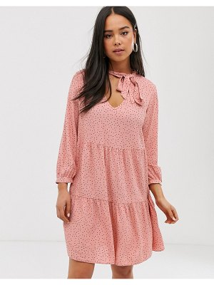 New Look smock dress in pink polka dot