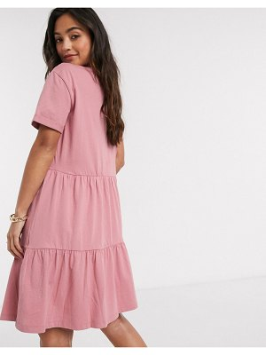 New Look smock short sleeve mini dress in pink