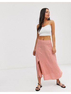 New Look split midi skirt in pink polka dot