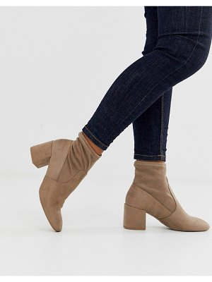 New Look square toe heeled sock boot in pu in taupe-brown