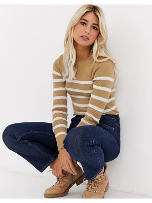 New Look stripe crew neck sweater in camel-brown