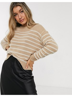 New Look striped sweater in brown pattern