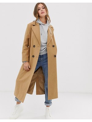 New Look tailored maxi coat in camel-tan
