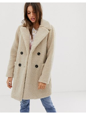 New Look teddy coat in cream