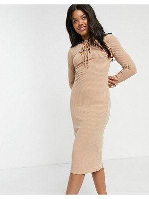 New Look tie front ribbed midi dress in camel-brown
