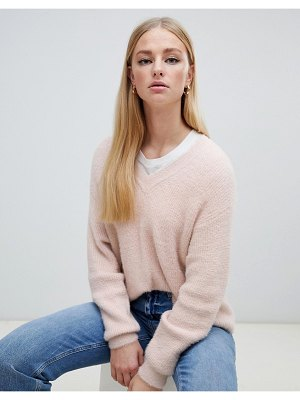 New Look v neck fluffy sweater in nude