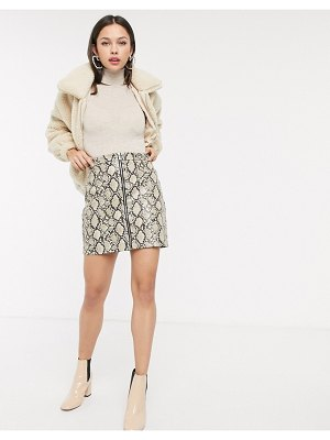 New Look vinyl snake zip mini skirt in brown pattern