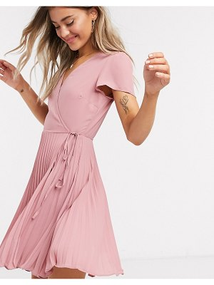 New Look wrap pleated mini dress in pink