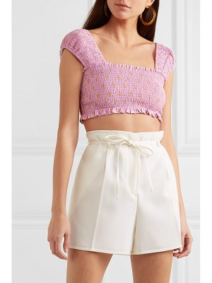 Nicholas cropped shirred polka-dot cotton and silk-blend top