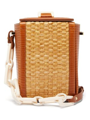 Nico Giani cerea lizard-embossed leather and straw bag
