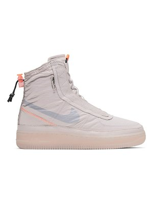 Nike air force 1 shell sneaker boots in platinum violet and metallic silver-beige