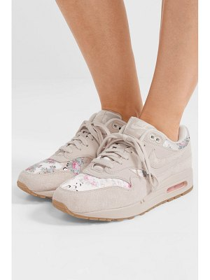Nike air max 1 suede and floral-print satin sneakers