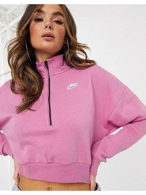 Nike essentials pink cropped high neck sweatshirt