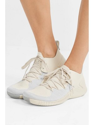 Nike free tr 3 champagne crinkled leather-trimmed flyknit sneakers