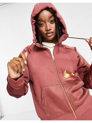 Nike icon clash full-zip hoodie in clay red-stone