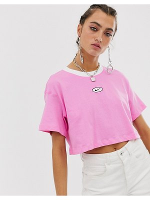 Nike pink embroidered swoosh crop top