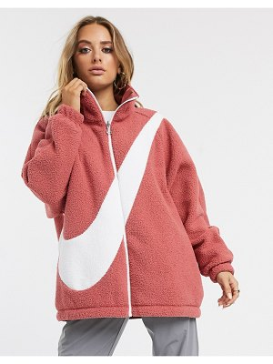Nike pink teddy fleece with oversized swoosh
