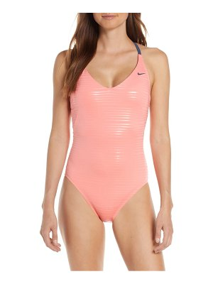 Nike shine stripe crossback one-piece swimsuit