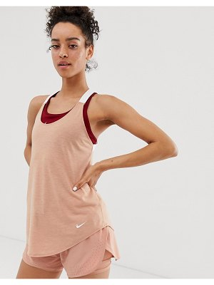 Nike Training elastika tank in rose gold-pink