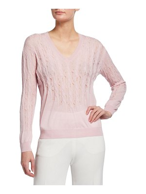 Nina Ricci Wool-Cashmere Cable-Knit V-Neck Sweater