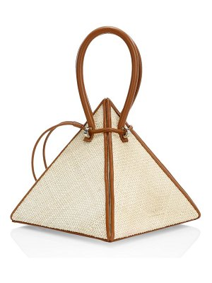 Nita Suri lia pyramid leather-trimmed raffia top handle bag