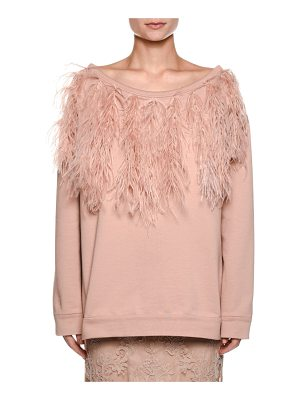 NO. 21 Bateau-Neck Long-Sleeve Sweatshirt W/ Feather Trim