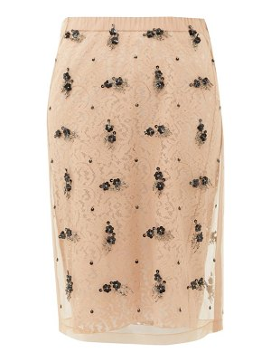 No. 21 embellished tulle and lace pencil skirt