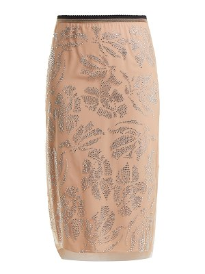No. 21 Floral Crystal Embellished Tulle Pencil Skirt