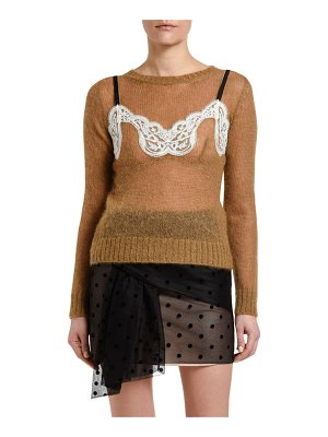 No. 21 Mohair Crewneck Sweater with Lace Detail