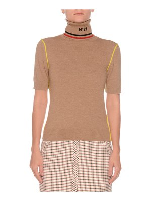 No. 21 Short-Sleeve Graphic Turtleneck Wool Sweater