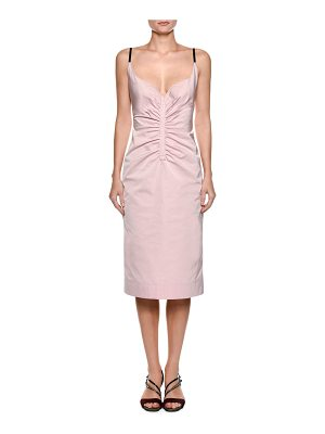 NO. 21 Sleeveless Ruched Duchess Satin Slip Cocktail Dress