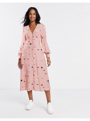Nobody's Child button front midi dress in star print-pink