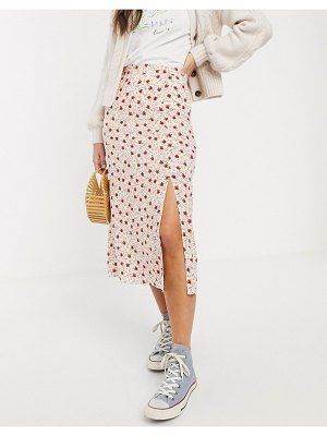 Nobody's Child maxi wrap skirt in cream ditsy floral