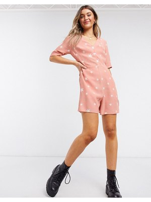 Nobody's Child romper with buttons in star print-pink