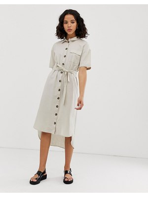 Noisy May button through utility shirt dress