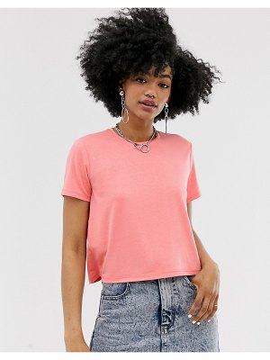 Noisy May cropped tee in neon coral