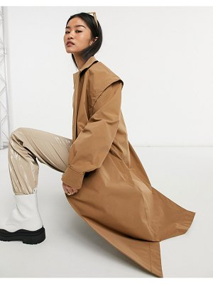 Noisy May drop shoulder trench coat in camel-beige