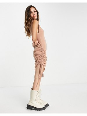 Noisy May exclusive ruched body-conscious mini dress in camel-neutral